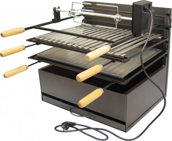 Barbecue avec grille plancha et tournebroche de 60cm - Barbecue avec rotissoire ...