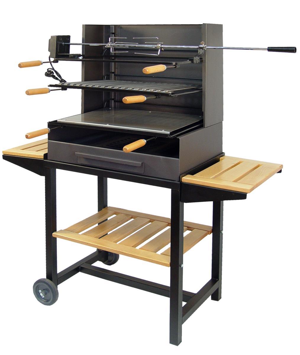barbecue avec grille plancha et tournebroche sur roulette. Black Bedroom Furniture Sets. Home Design Ideas